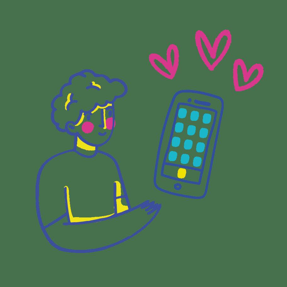 obrázek kluka s telefonem