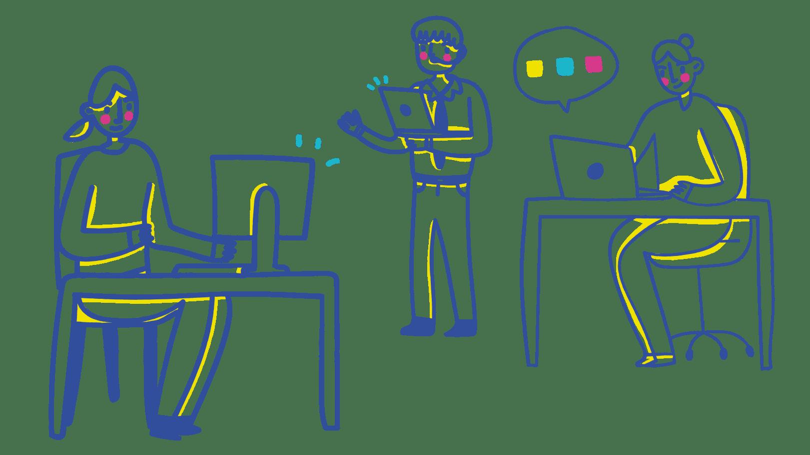 obrázek tří spolupracovníků
